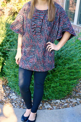 BB Red & Black Tweed Tunic with Ruffle Front