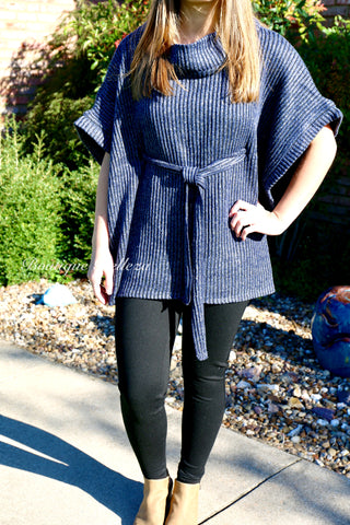 BB Heather Blue Ribbed Tunic with Tie Belt