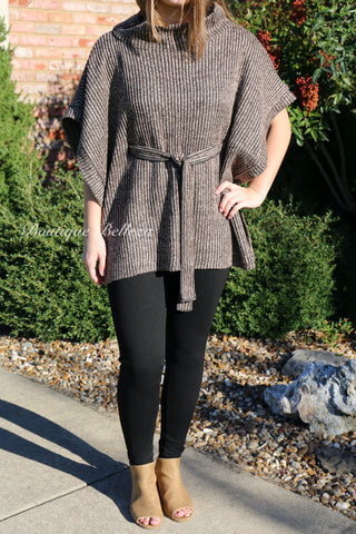 BB Brown Heather Ribbed Tunic with Tie Belt