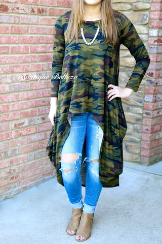 BB High-Low Camo Tunic with Pockets