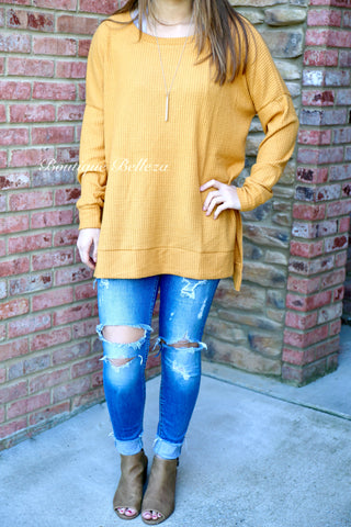 Brushed Thermal with High-Low Hem in Mustard