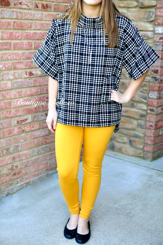 BB Black and White Plaid Tunic with Metallic Details