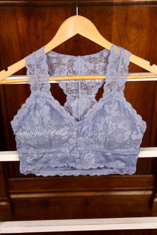 Lace Bralette with Hourglass Back in Gray