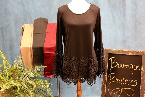 Black Tunic with Wide Lace Sleeves and Hem