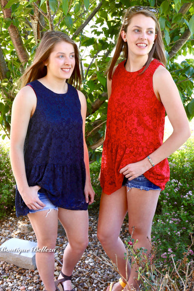 Lace Sleeveless Fully-Lined Top  in Navy