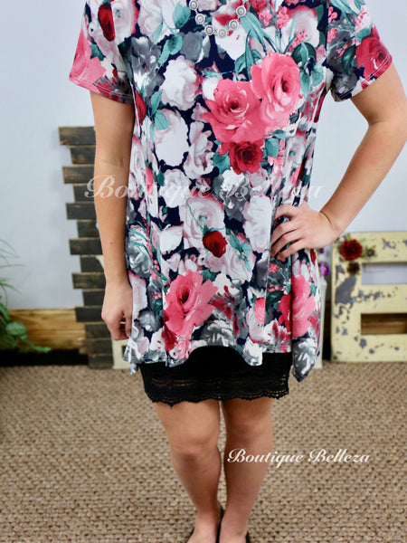 Asymmetric Short Sleeve Berry Floral Top