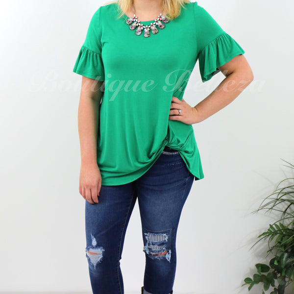 Emerald Green Knit Top With Short Bell Sleeve and Side Twist