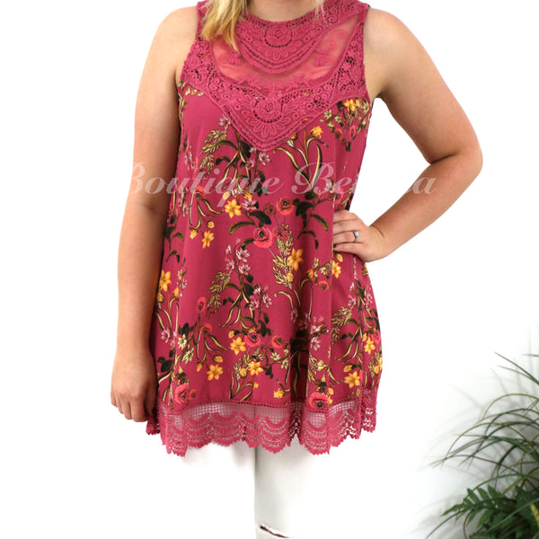 Berry Floral Print Sleeveless Top with Lace Neck and Trim