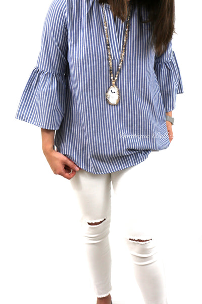 Missy Fit Woven Denim & White Striped V-neck Top with 3/4 Bell Sleeves