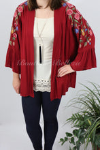Floral Embroidered Kimono with Ruffled Bell Sleeves