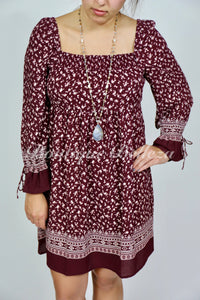 Burgundy Floral Smocked Dress