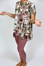 Asymmetric Short Sleeve Mauve Floral Top