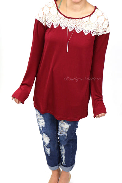 Lace Neckline Burgundy Long Sleeve Shirt