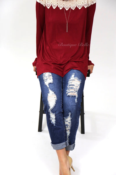 Distressed Dark Wash Missy Boyfriend Jeans