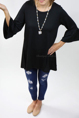 Favorite 3/4 Bell Sleeve Tunic in Black