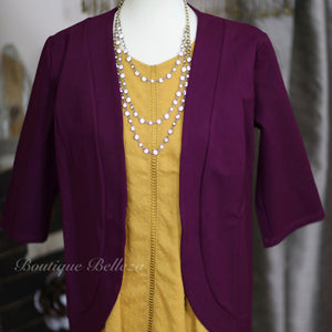 Princess Seam Blazer in Deep Plum