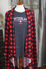 Buffalo Plaid Soft Knit Open Cardigan With Elbow Patches