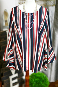 Multi-Color Stripes Woven Blouse With 3/4 Bell Sleeves