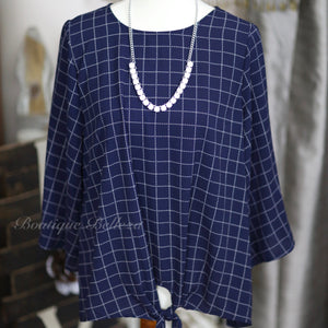 Navy Blouse With Wide 3/4 Sleeves + Front Tie