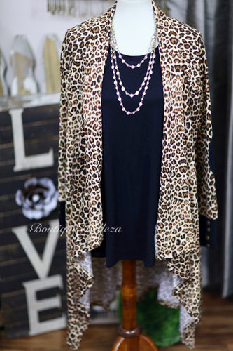 Leopard Print Soft Knit Open Cardigan With Elbow Patches: M-2X