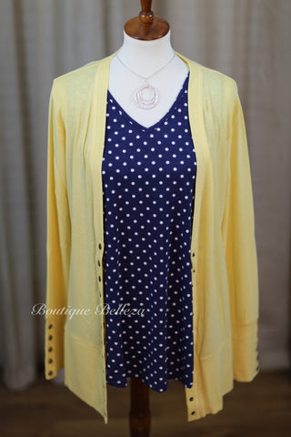 Solid Color High-End Snap Cardigan in Banana