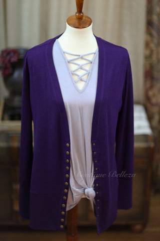Solid Color High-End Snap Cardigan in Plum