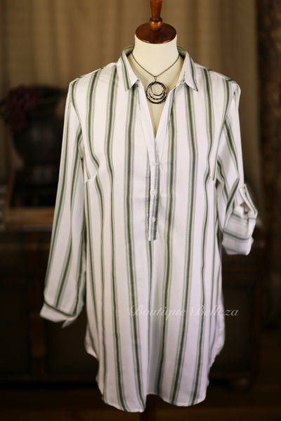 Bold Stripe Half-Button Tunic