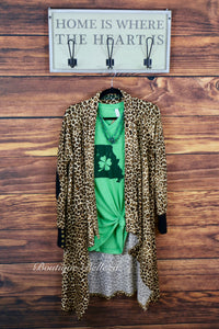Leopard Print Soft Knit Open Cardigan With Elbow Patches