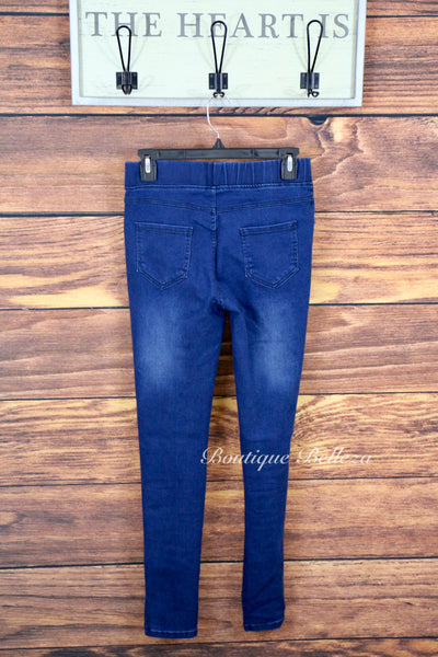 Cotton Blend Ripped Denim Jeggings