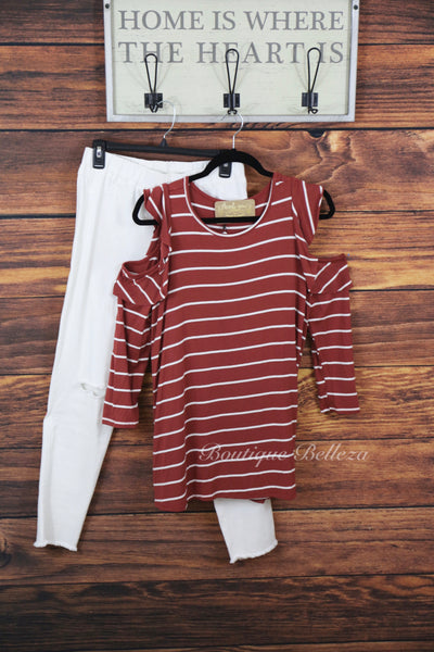 Marsala Long Sleeve Knit With Cutout Arms and Ruffles
