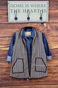 Woven Cotton Herringbone Vest, Brown