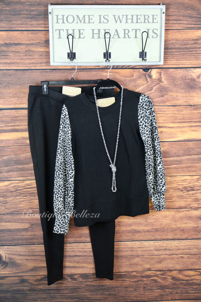 Lightweight Sweater-Like Top w/Leopard Print Sleeve