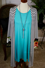 3/4 Sleeve Knit Tunic Dress With Pockets in Turquoise