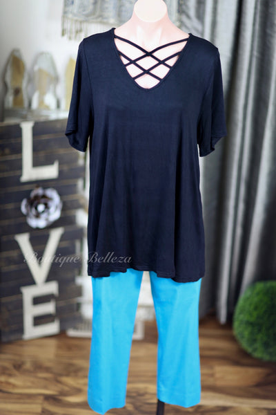 Short Sleeve Knit Top With Strappy Cage Neck
