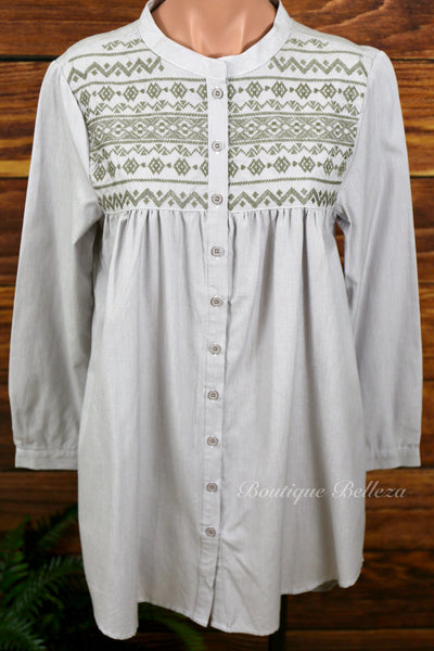 Embroidered Tunic-Length Button Down in Taupe