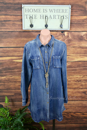 Chambray Fringe Button Down Tunic/Dress