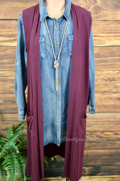 Chambray Frayed Hem Button Down Tunic/Dress