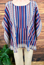 Rich + Gorgeous Embroidered + Striped Poncho