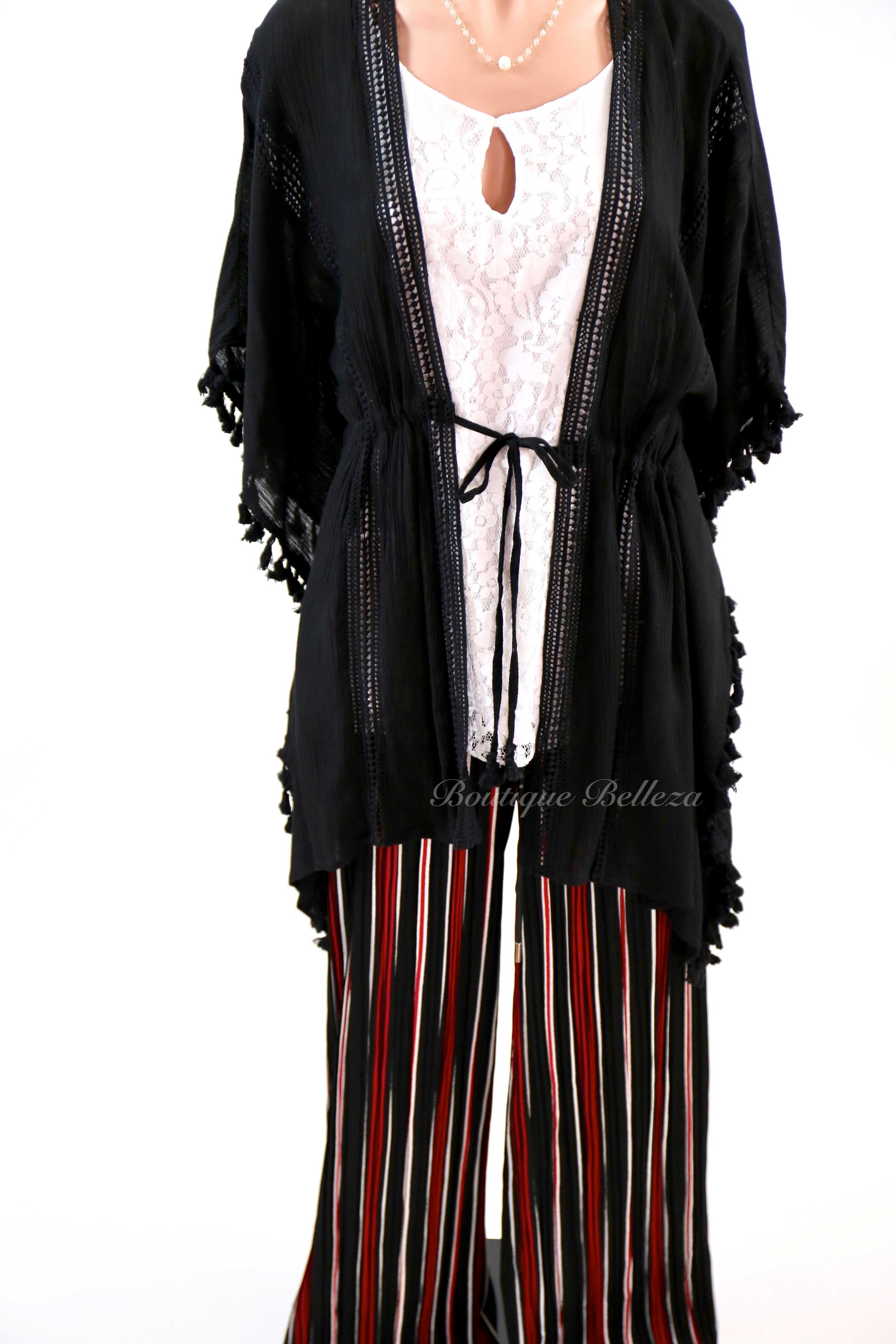 Red Stripe Pleated Palazzo Pants