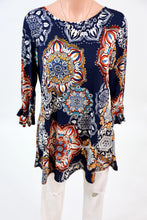 Navy Medallion Print Tunic With Ruffle Sleeves