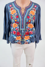 Custom Embroidered Tunic In Silver Blue: S-2XL