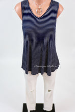 Navy w/White Stripes V-Neck Tank