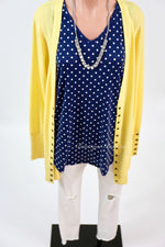 Navy Polka Dot V-Neck Tank