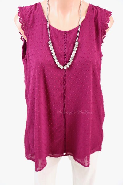 Swiss Dot Sleeveless Blouse, Berry