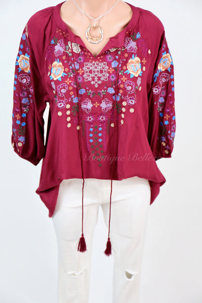 Embroidered Burgundy Top With Tie Neck
