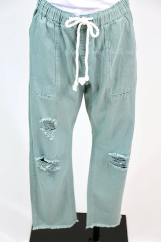 Distressed Twill Boyfriend Pants