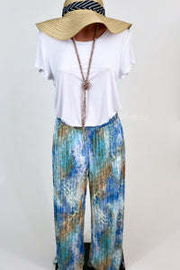 Pleated Palazzo Pants Faded Blue