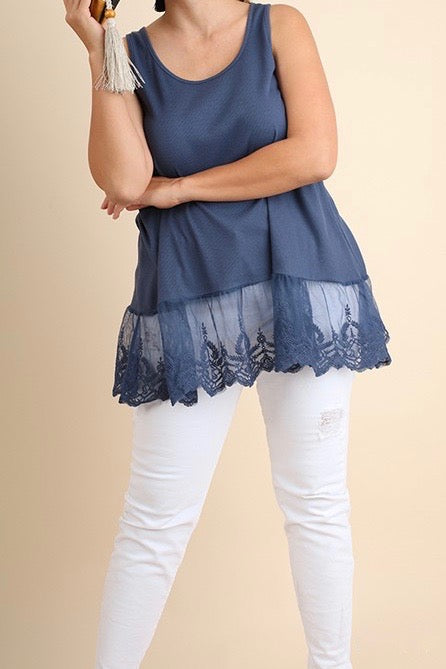Umgee Sleeveless w/Lace Trim, Blue Plus Sizes