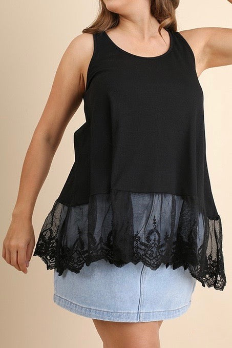 Umgee Sleeveless w/Lace Trim, Black Plus Sizes