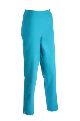 Flat Front Capri Pants in Turquoise